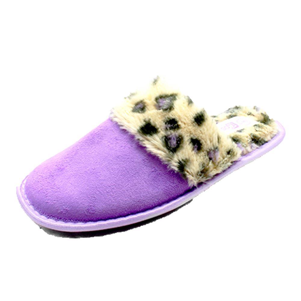 Abierto señoras posterior Zapatillas con esponjoso Leopardo Interior Y Banda