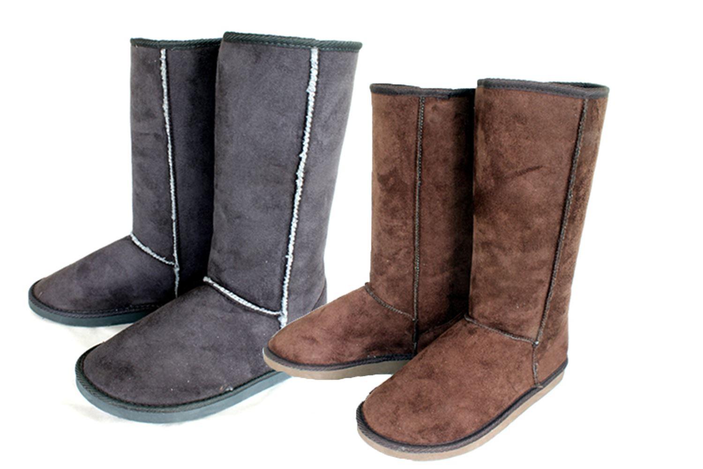 Mujer Forro de piel plana superior media caña botas de antelina - Marron, 3 UK