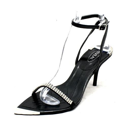 SendIt4Me Black Diamante Pointed Toe with Silver Toe Cap Party Sandals ajkd7LT9Z