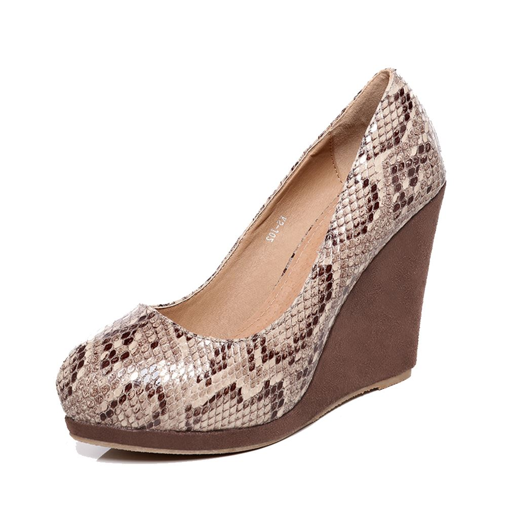 Brown snake print round toe high heel wedge shoes