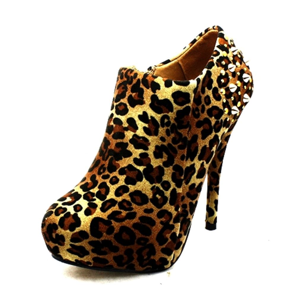 Ladies-suedette-spike-studded-heel-high-heel-ankle-shoe-boots