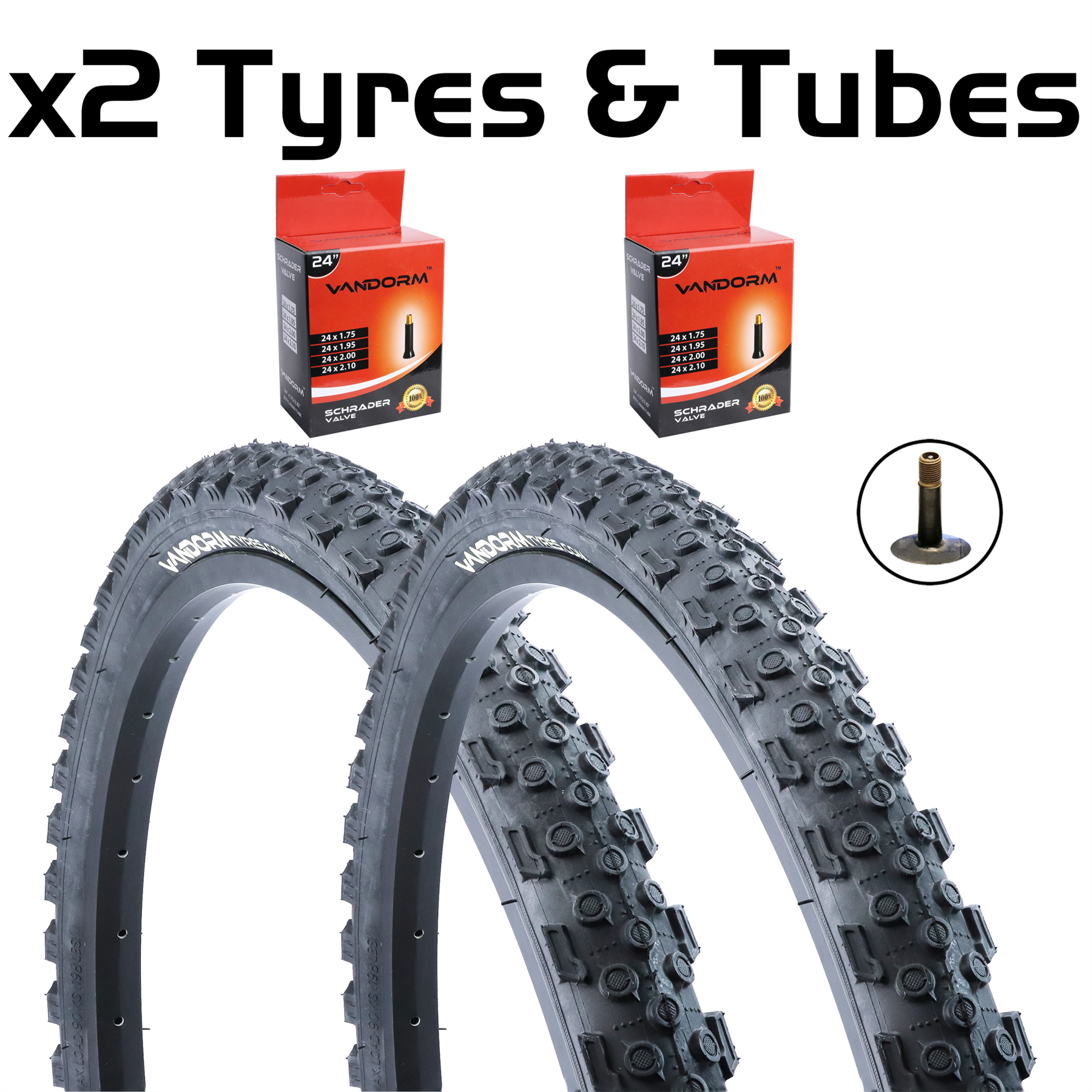 """Lot of 40 Bicycle Bike Cycle Tube 24/"""" x 1.75-1.95 Inner Tubes 24 inch NEW"""