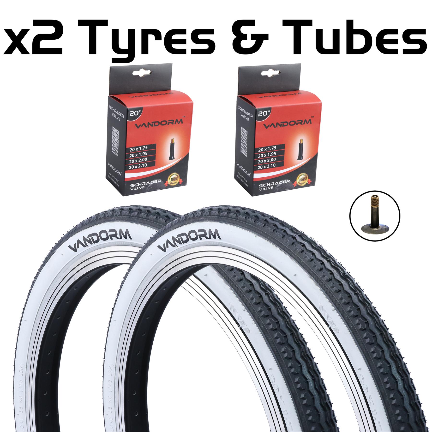 "20/"" x 1.75/"" Vandorm White Wall Retro Tyre For Raleigh Shopper//Fold Up Bike"