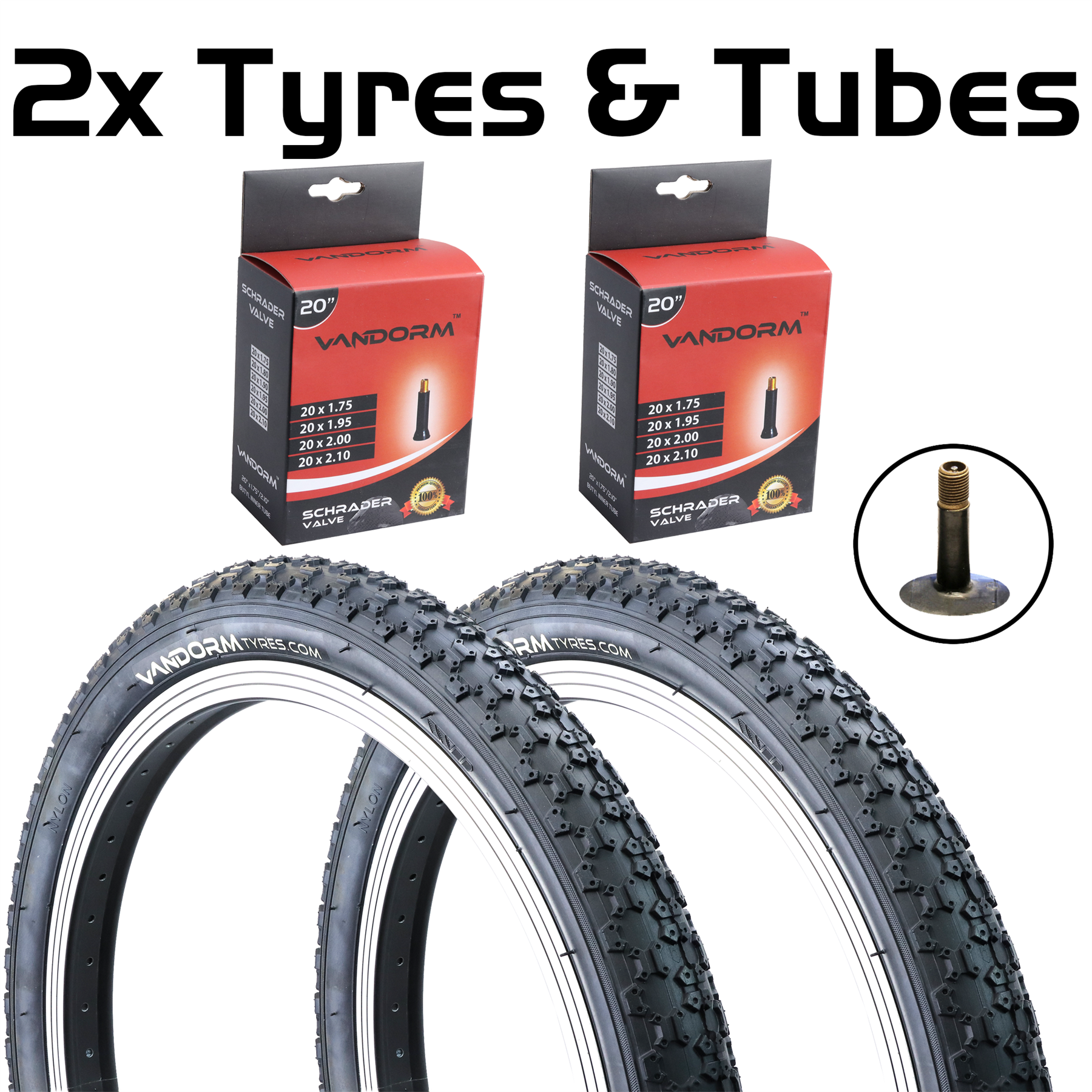 "Vandorm 20/"" BMX Comp 3 Bike Tyre 1.75/"" 1.95/"" 2.125/"" Tyre /& Tube DEAL OPTIONS"