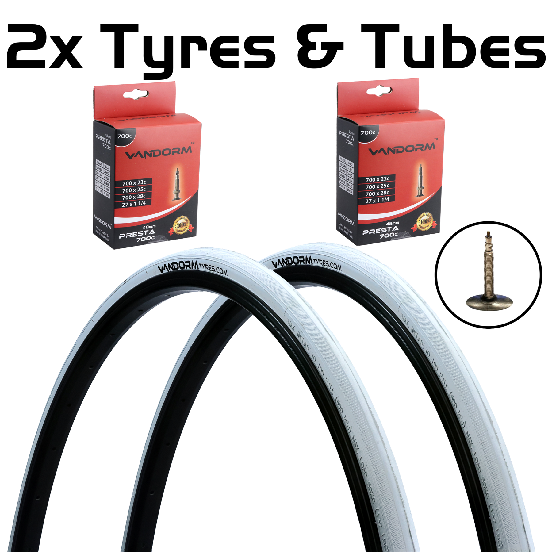 miniatuur 13 - Vandorm 700 x 23c SPEED 3 Colour Road Bike Fixie Tyres & Tube DEAL OPTIONS