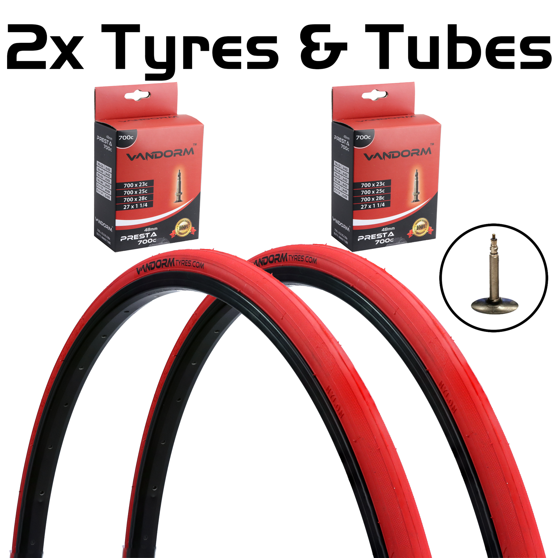 miniatuur 10 - Vandorm 700 x 23c SPEED 3 Colour Road Bike Fixie Tyres & Tube DEAL OPTIONS