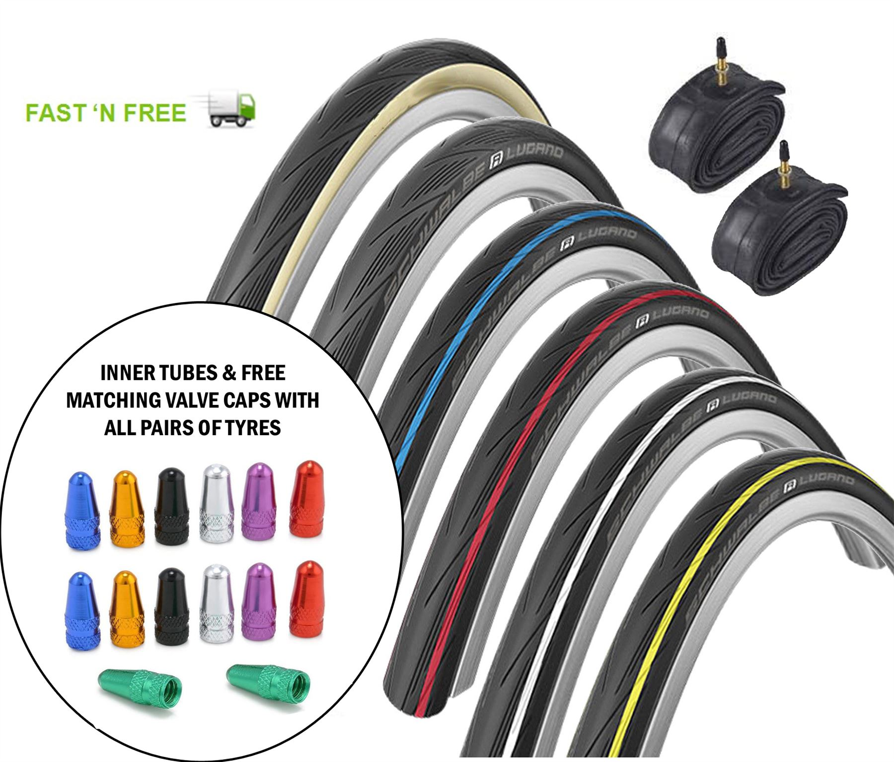 Schwalbe Lugano 2 700C Bike Tyres /& Tubes Road Cycle Tire Active Line K-Guard