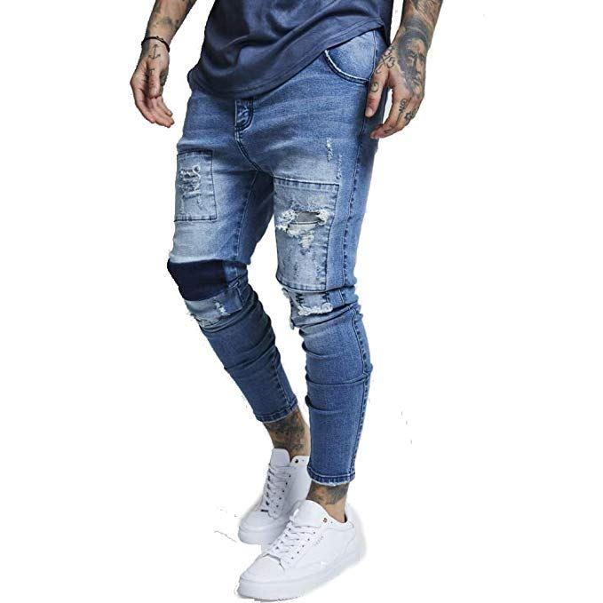 005f9037483f3 Details about Sik Silk Men's Drop Crotch Patch Stretch Denim Skinny Fit Low  Rise Jeans