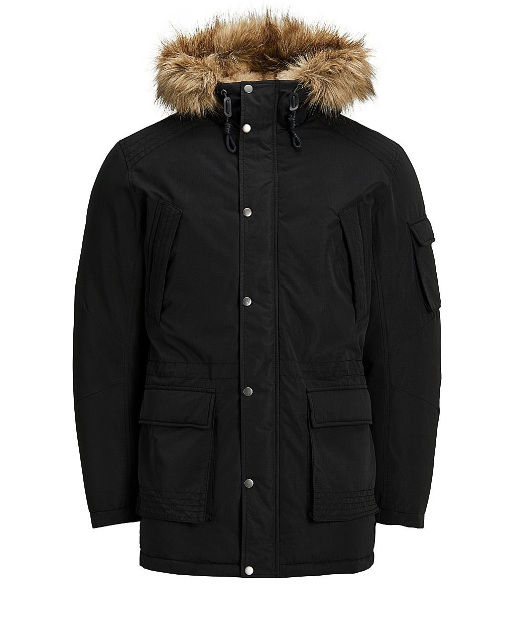Jack And Jones Latte Nordic Faux Fur Trimmed Canvas Padded