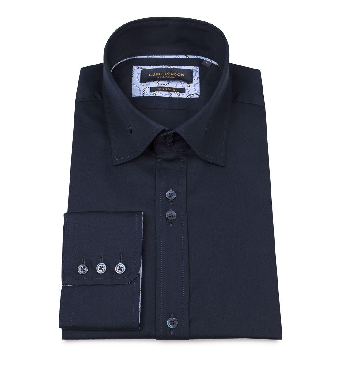 Guide London Mens Ls74587 Smart Cotton Sateen High Collar Slim Fit
