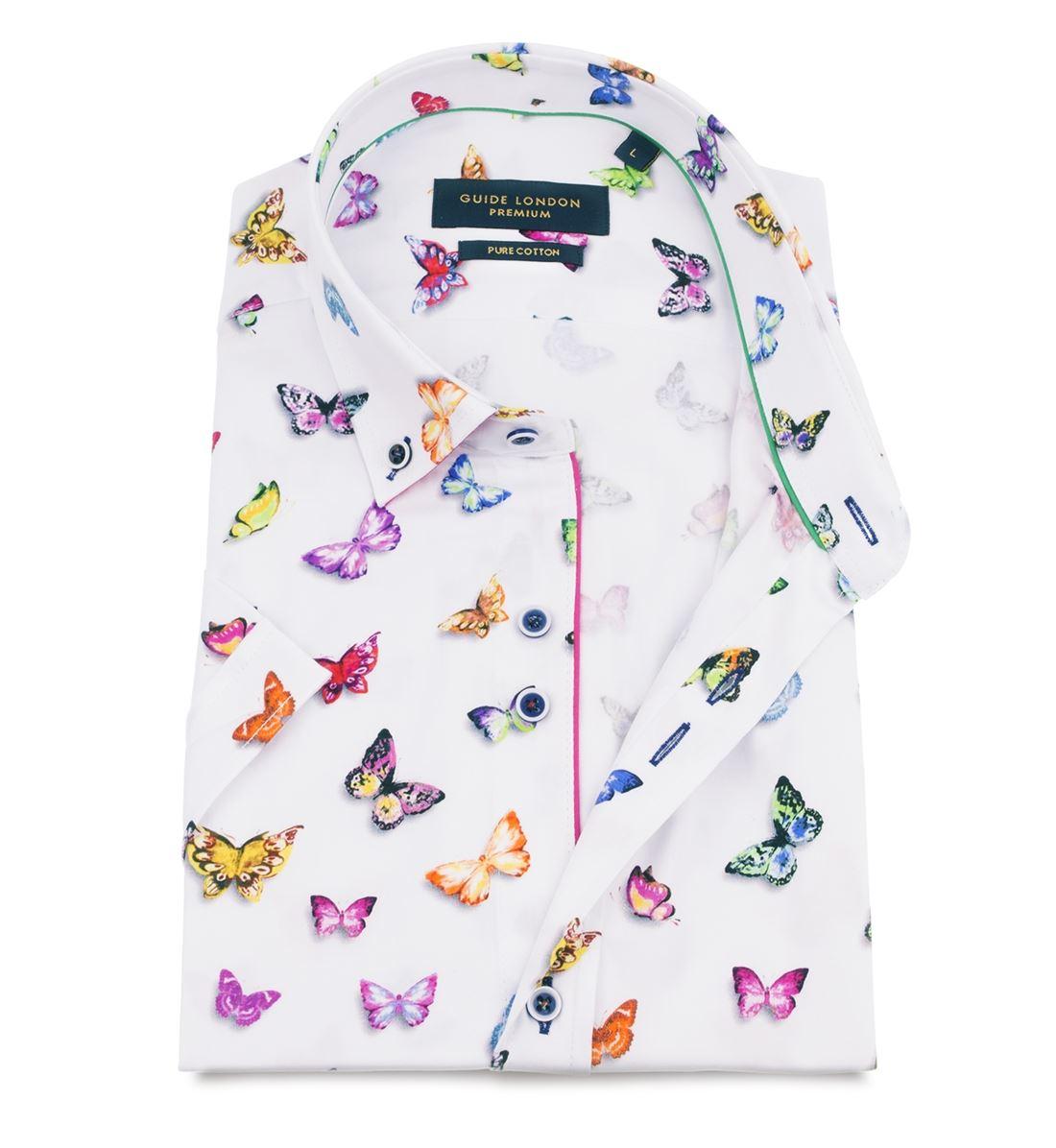 Guide London HS2300 Bianco Vibrante Stampa con Farfalla Farfalla Farfalla Cotone 43e9a3