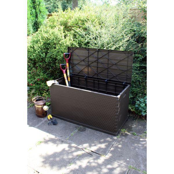 420l Outdoor Rattan Effect Plastic Garden Storage Chest Storage Utility Chest Cushion Box