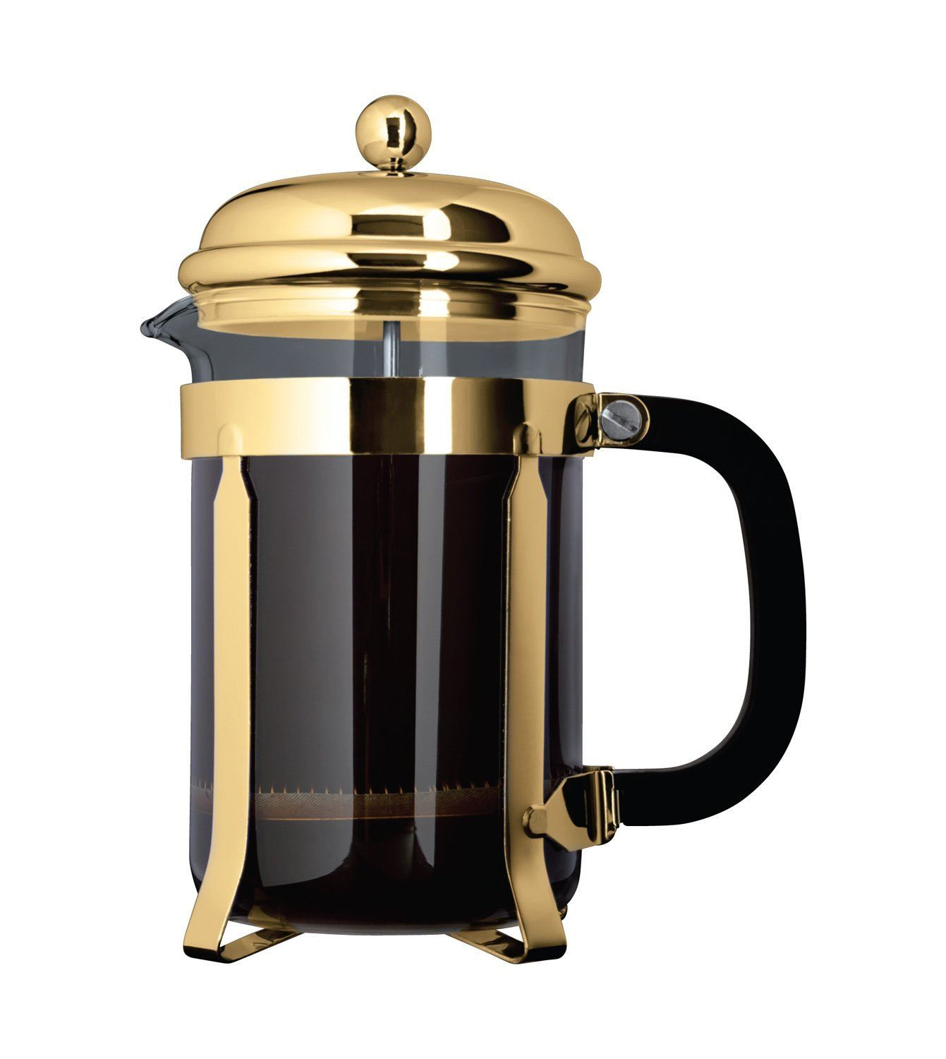 Caf? Ole By Grunwerg 3 Cup Classic Coffee Maker Glass Cafetiere, Gold Finish, 350 Ml 0.35 Litre