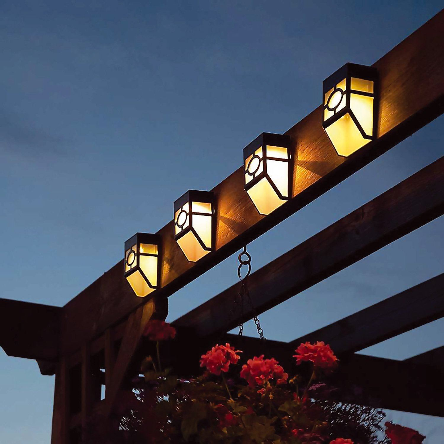 4x Solalite Decorative Wireless Garden Solar Lights Weatherproof Outdoor Fence Lamps
