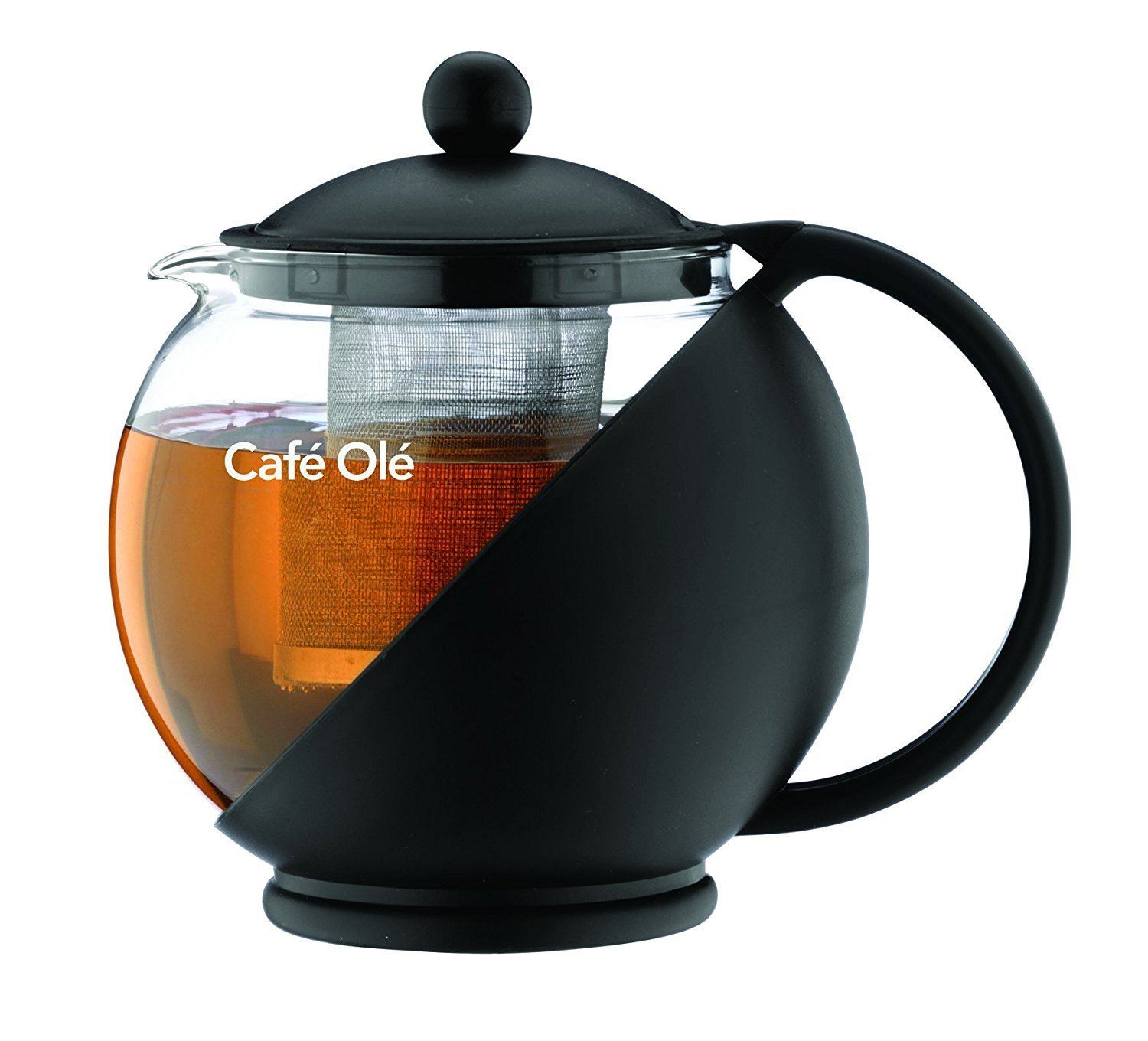 Caf? Ole Everyday Round Tea Pot Infuser Basket Glass Teapot Loose Leaf, Black, 1250 Ml/1.25 Litre