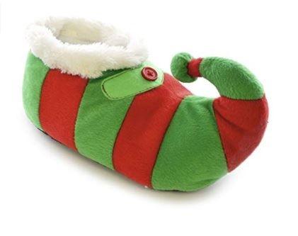 Kids Large 13//1 Plush Novelty Plush 3D Christmas Elf Slippers Green//Red