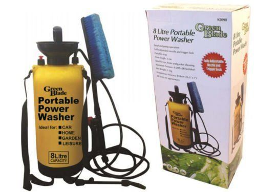 Green Blade 8 Litre Portable Pressure Power Jet Washer Fence Garden Sprayer With Shower Head