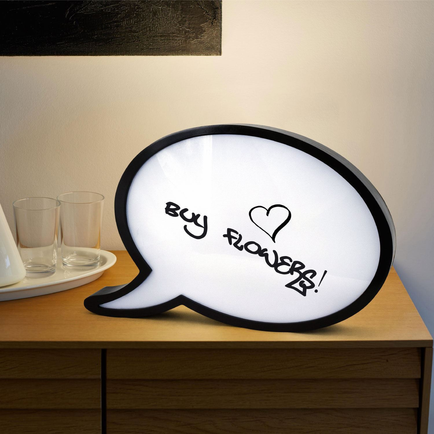 Large Speech Bubble LED Light Up Box Write Your Own Message Sign Display Party
