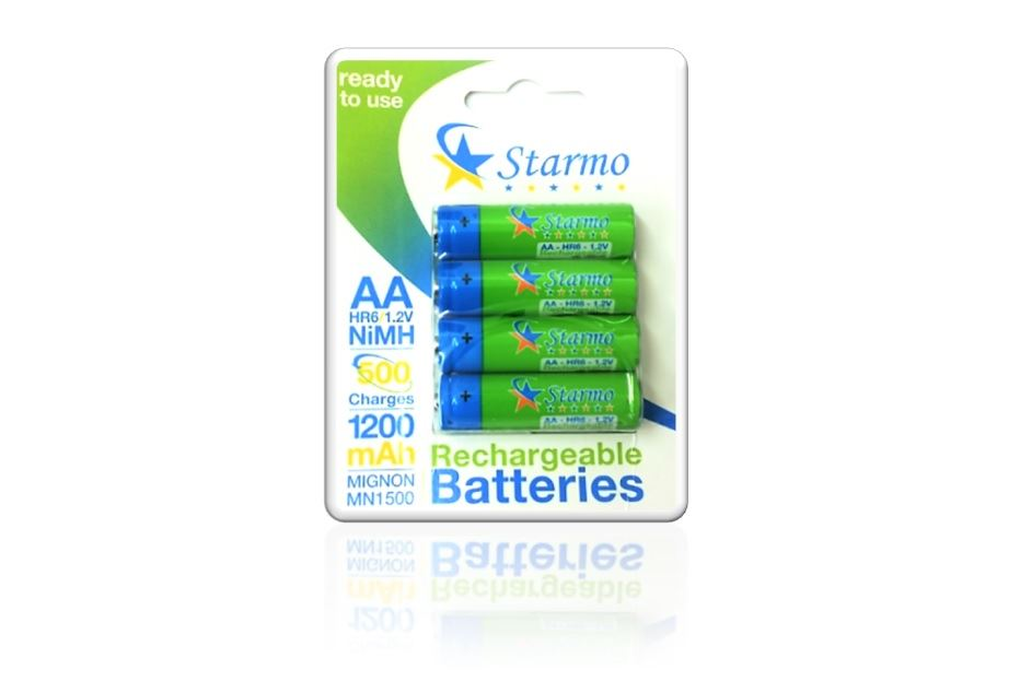 4 X Starmo Aa Mn1500 1200mah Hr6/1.2v Rechargeable Batteries Nimh Ready To Use