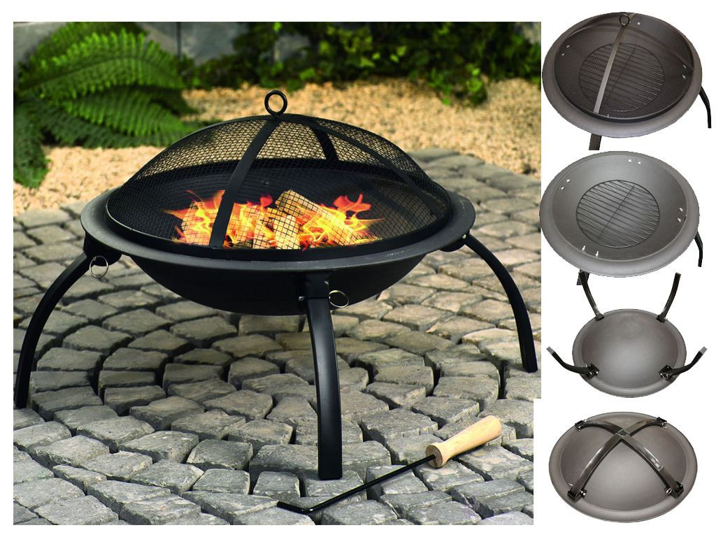 BBQ-Barbeque-Charcoal-Burner-Grill-Firepit-Steel-Outdoor- - BBQ Barbeque Charcoal Burner Grill Firepit Steel Outdoor Cooker Fire