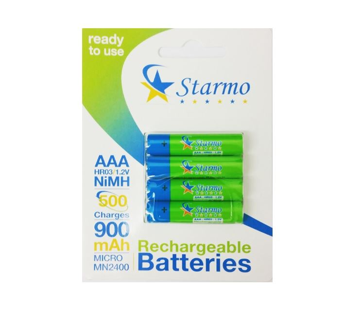 4 X Starmo Aaa Mn2400 900mah Hr03/1.2v Rechargeable Batteries Nimh Ready To Use