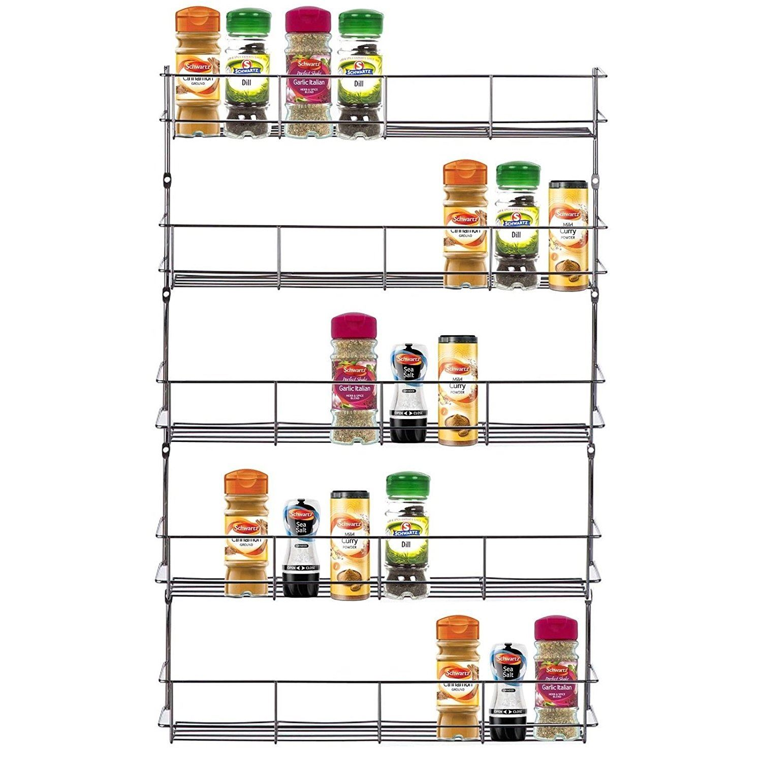 Top Home Solutions? 5 Tier Chrome Spice Rack Back Of Door Spice Jar Packet Holder