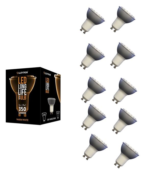10 X Lloytron B5416 Gu10 5w 5600k Led 350lm Light Lamp Bulb Low Energy Cool White New