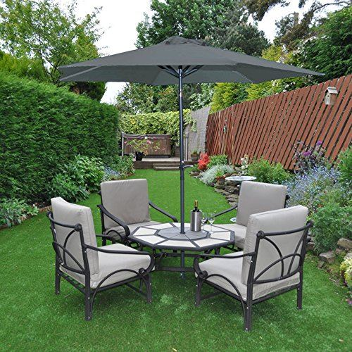 Garden Kraft 14620 2.7m 6 Rib Crank And Tilt Parasol - Charcoal