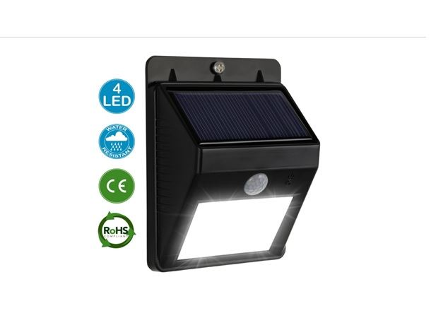 1 X Amos 4 Led Solar Powered Pir Motion Sensor Bright Security Outdoor Garden Wall Lamp