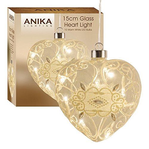 Hanging Heart With 10 Battery Operated Warm White Led Lights Inside, Glass, Transparent