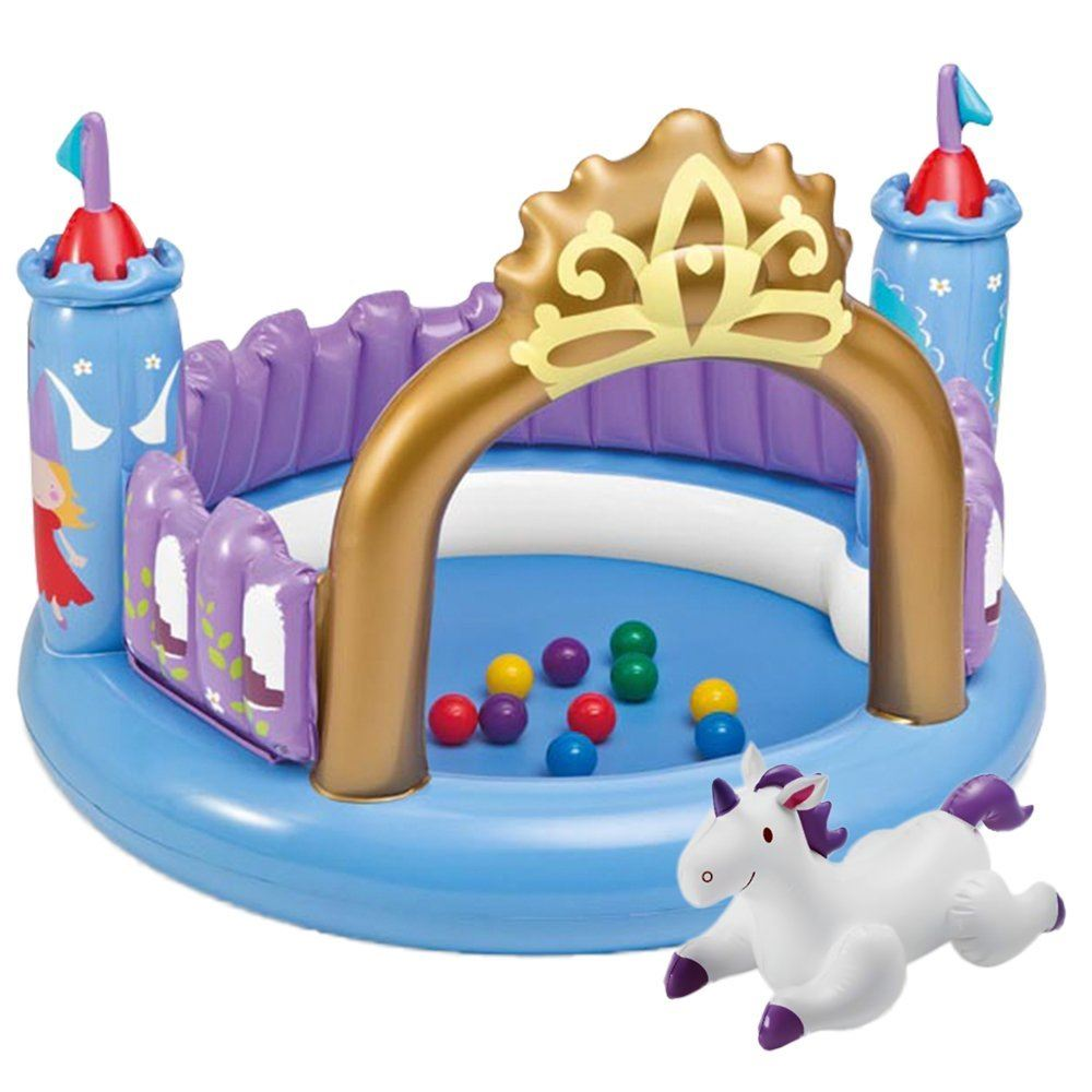 Intex 51 Inflatable Magic Castle Bouncer Indoor Ball Pit Kids Unicorn Play Mat