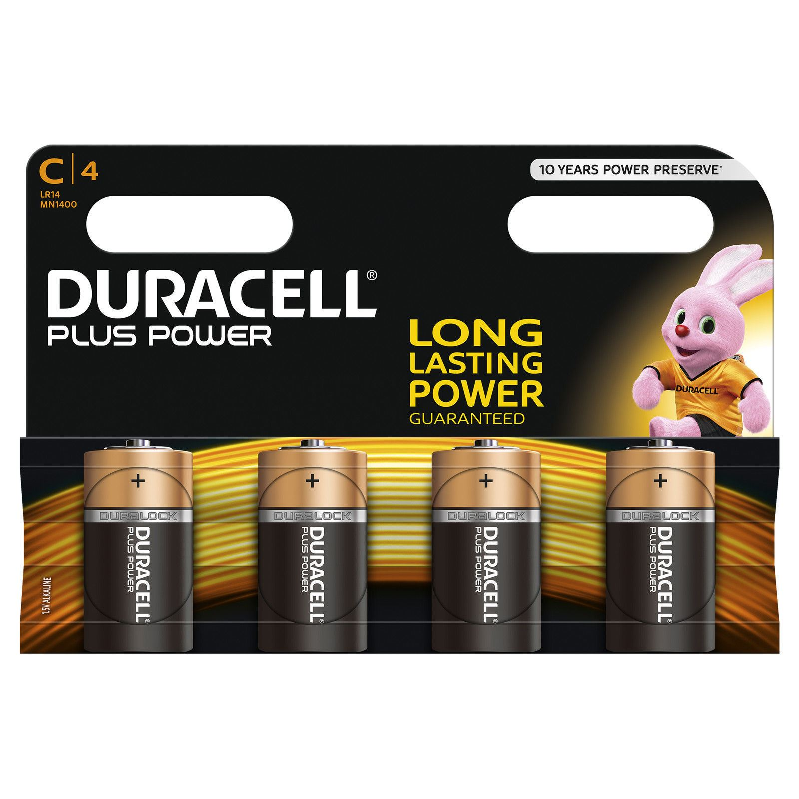 4 X Duracell Mn1400 Plus Power C Size Batteries