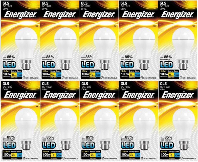 Energy Class A+ 10 X Energizer LED GLS Daylight Bulb BC//B22 12.5w = 100w