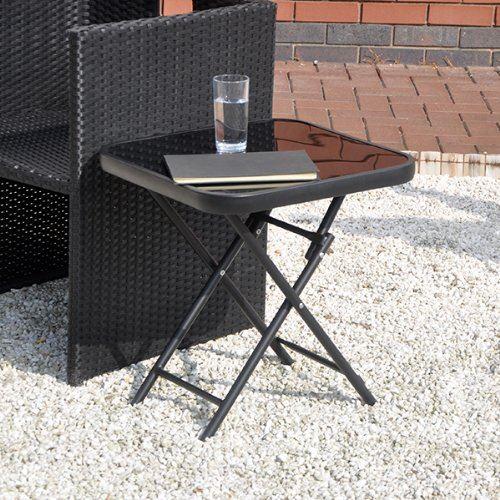 Folding Black Glass Drinks Side Garden Patio Table