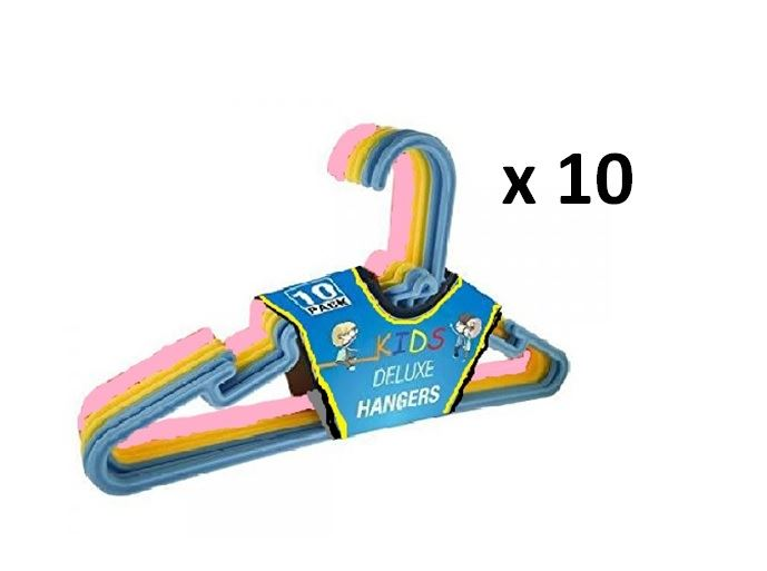 10 X Childrens Kids Deluxe Plastic Clothes Coat Hangers Pink Yellow Blue