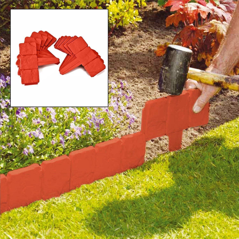 10 x Garden Edging Cobbled Stone Effect Plant Hammer-In Lawn Border Terracotta