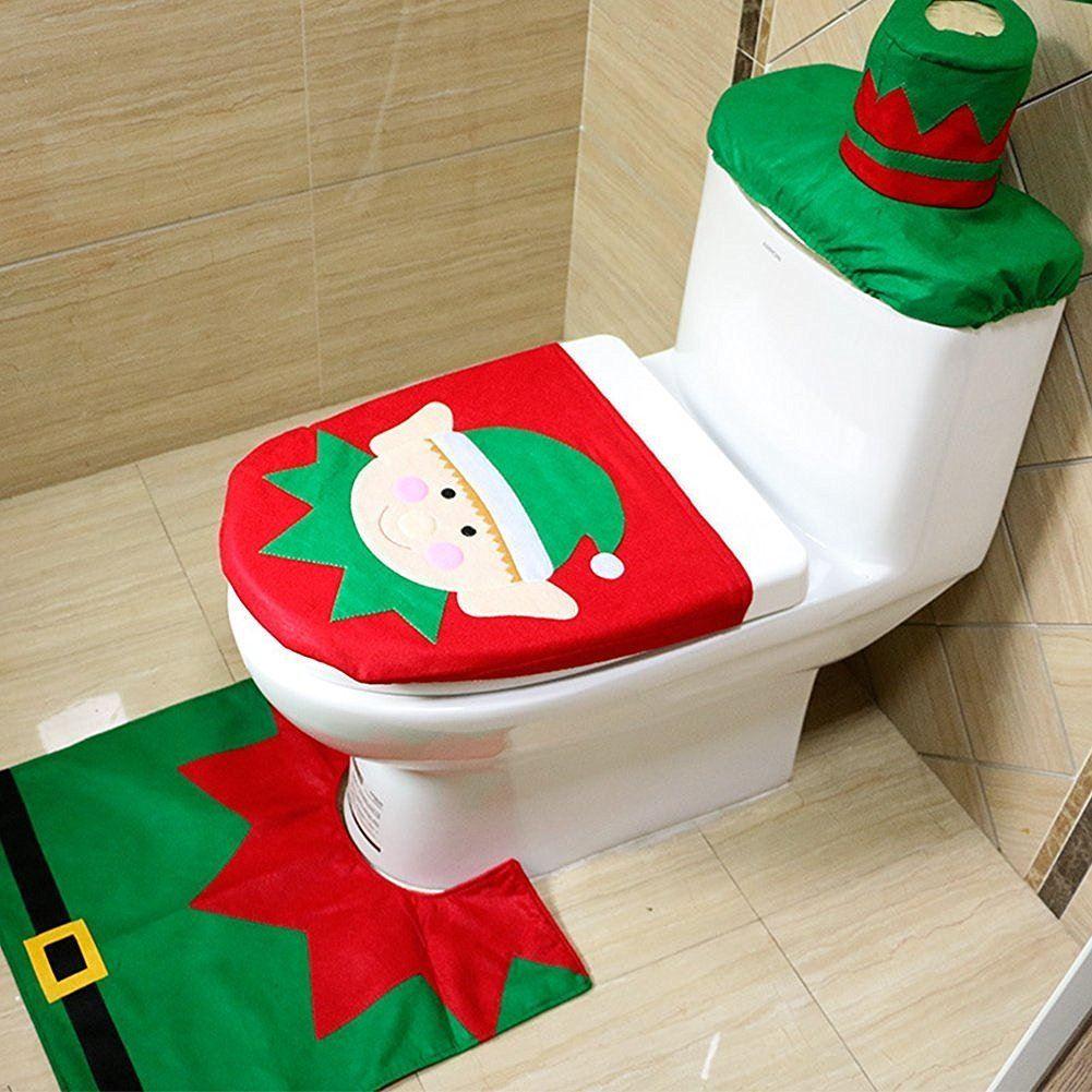 Christmas-Xmas-Decoration-Toilet-Seat-Cover-Set-Santa-Elf-Reindeer-Snowman
