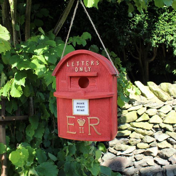 Kingfisher Red London Postbox Birdbox Bird House Garden Feeder
