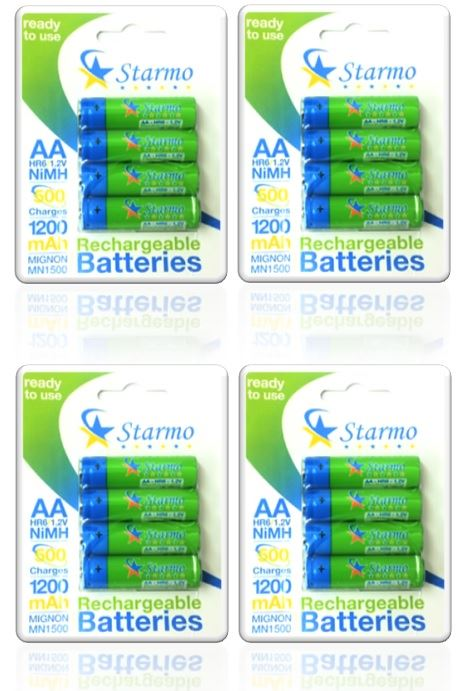 16 X Starmo Aa Mn1500 1200mah Hr6/1.2v Rechargeable Batteries Nimh Ready To Use