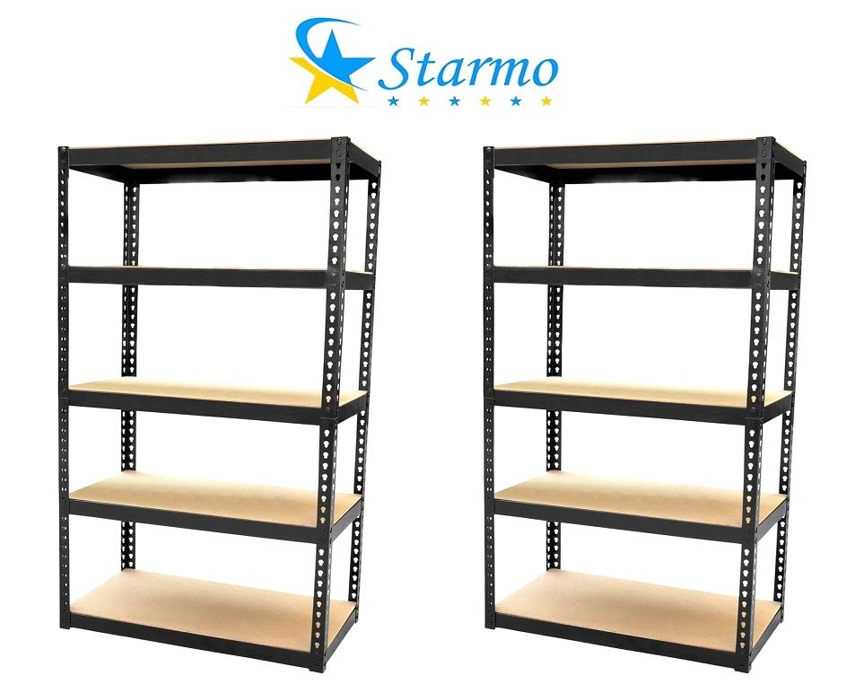 2 X Starmo Heavy Duty 5 Tier Shelving 1.8 Metre Boltless Assembly Storage Rack