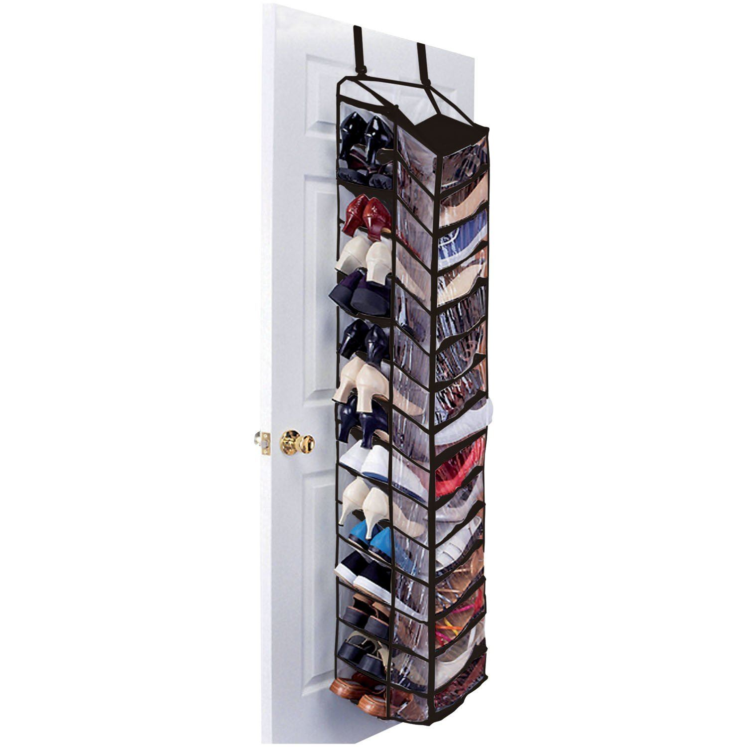 30 Pair Over The Door Hanging Shelf Shoe Rack Storage Stand Organiser Holder (black)