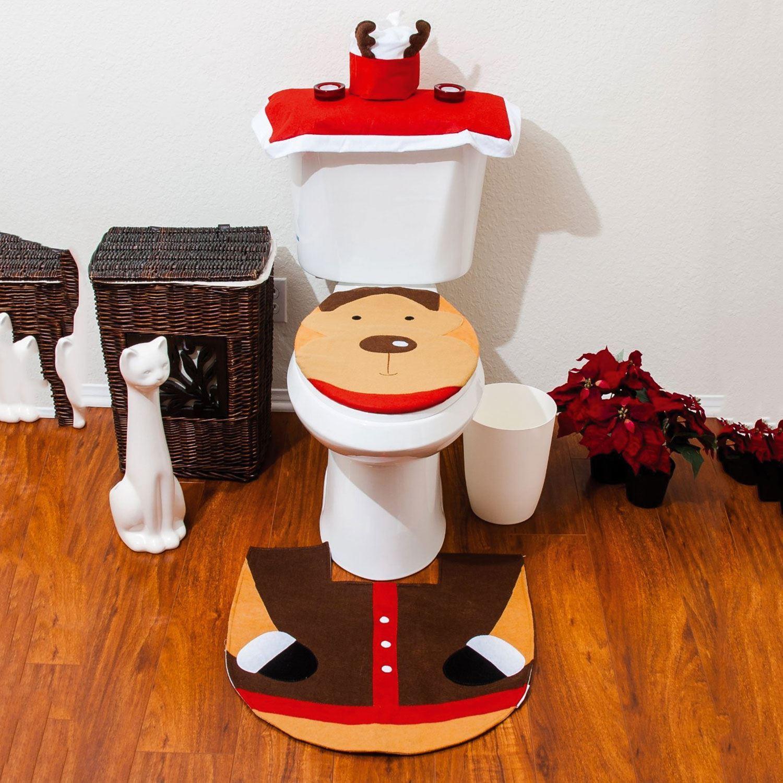 Christmas Xmas Decoration Toilet Seat Cover Set Santa
