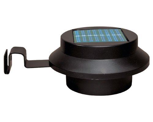 Black 3 Led Solar Sun Powered Gutter Door Fence Wall Light Garden Lighting
