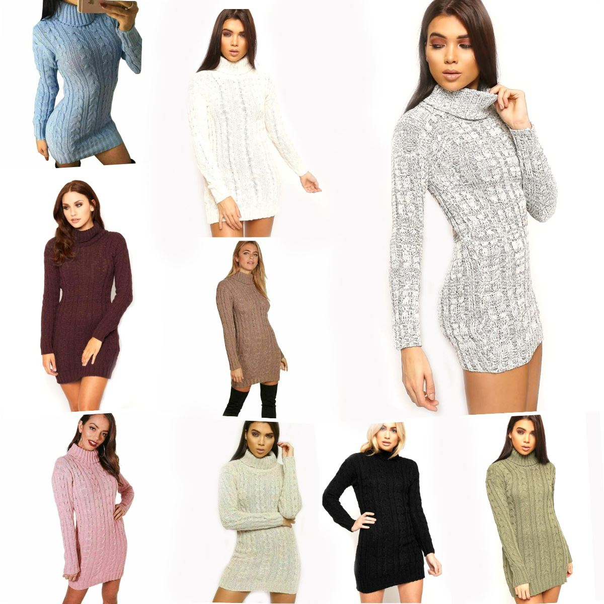 Womens Ladies High Polo Turtle Neck Chunky Cable Knit Long Manche Sweater Jumper