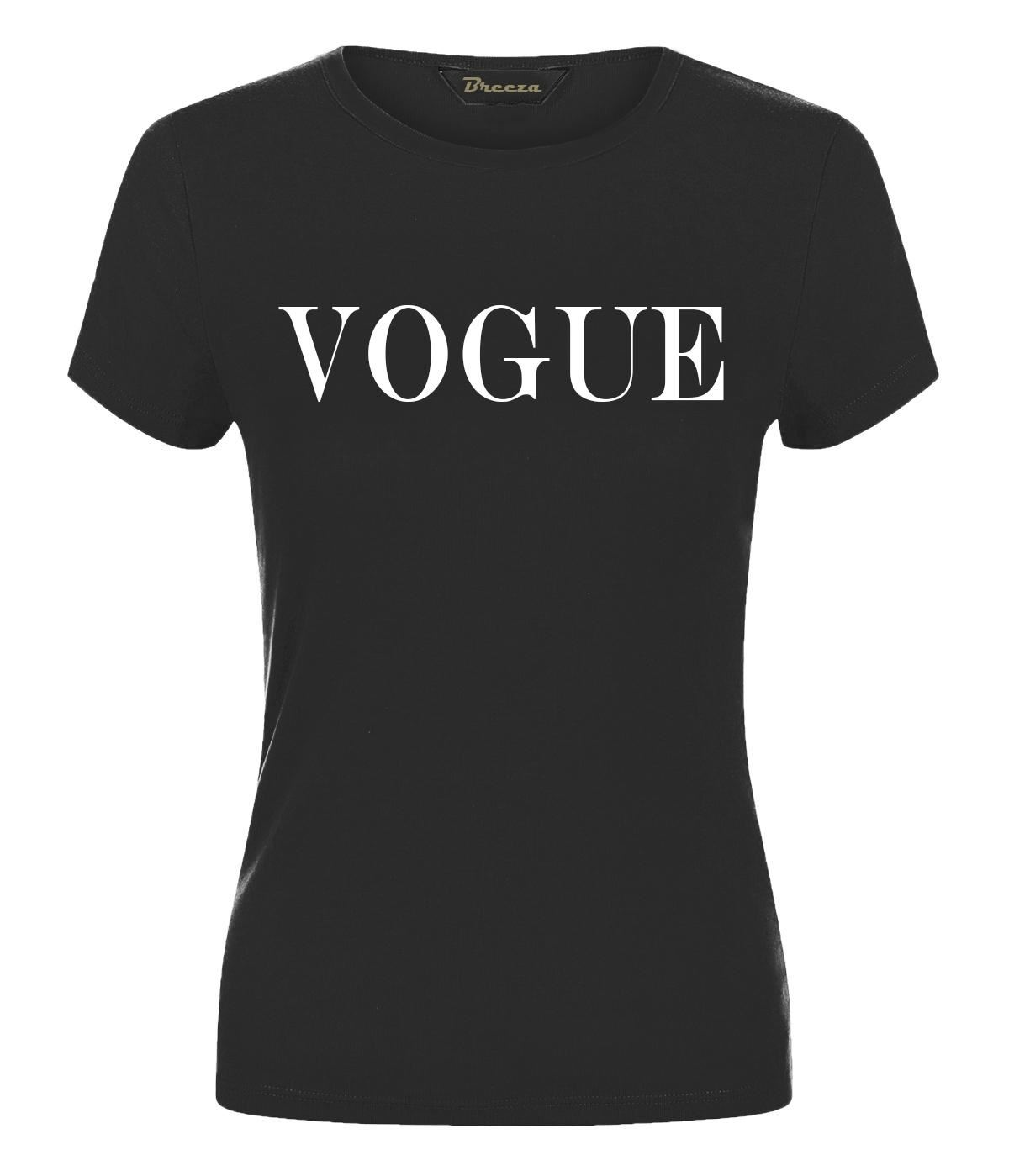 Women Ladies Celebrity Inspired VOGUE Slogan Short Sleeves T Shirt Fashion Top