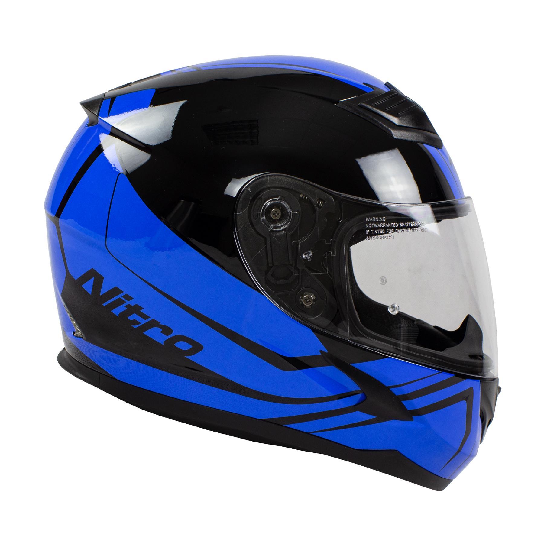 Nitro-N2400-Rogue-Full-Face-Motorcycle-Motorbike-Crash-Helmet-Black-Blue-Red thumbnail 15