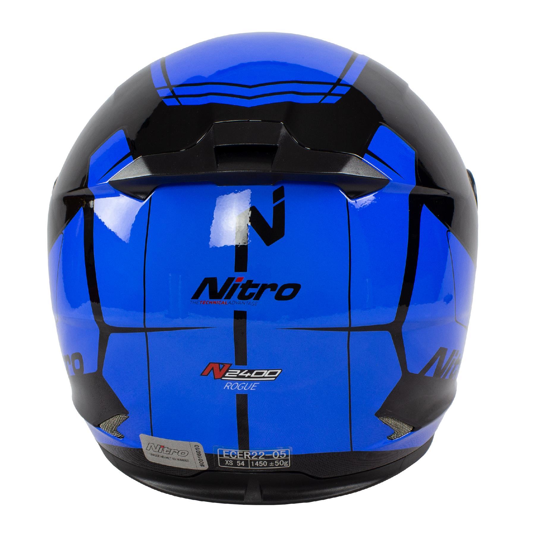 Nitro-N2400-Rogue-Full-Face-Motorcycle-Motorbike-Crash-Helmet-Black-Blue-Red thumbnail 12