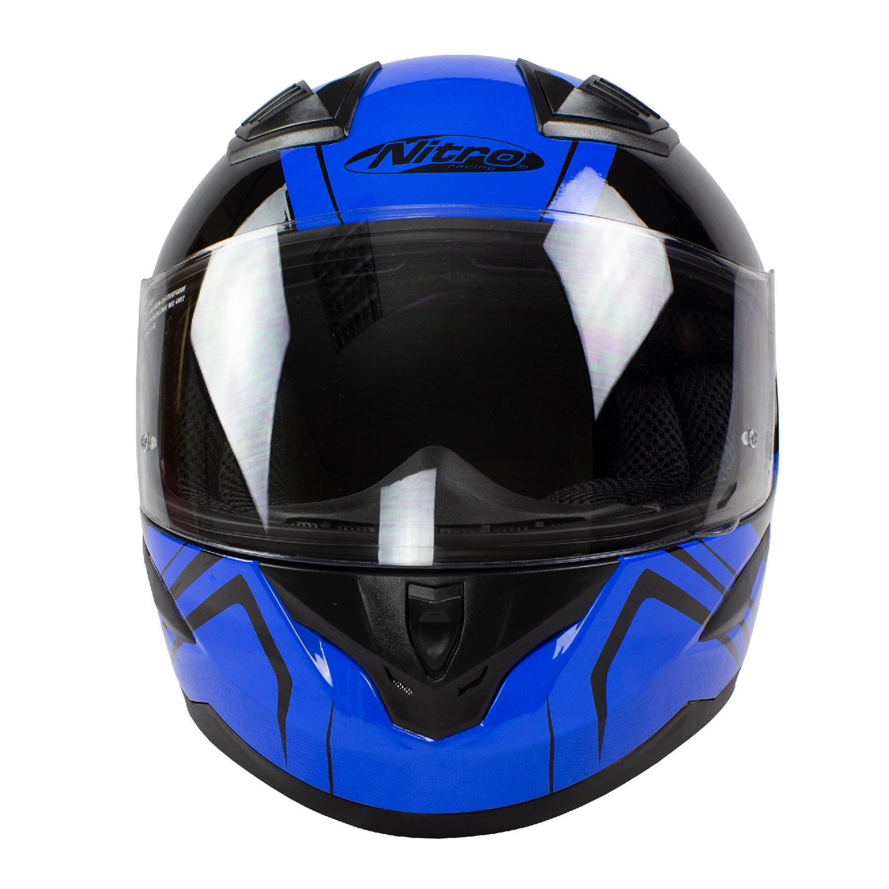 Nitro-N2400-Rogue-Full-Face-Motorcycle-Motorbike-Crash-Helmet-Black-Blue-Red thumbnail 13