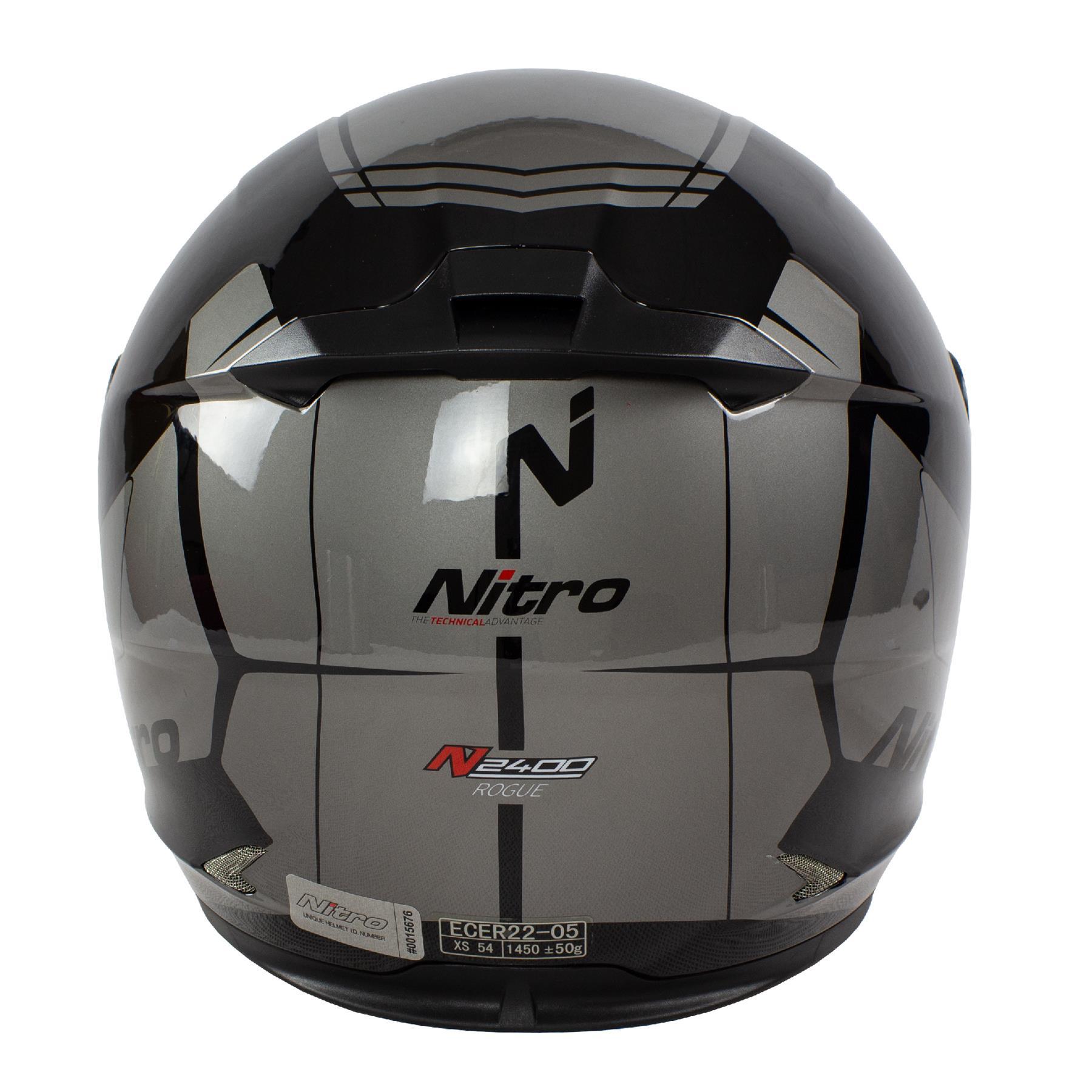 Nitro-N2400-Rogue-Full-Face-Motorcycle-Motorbike-Crash-Helmet-Black-Blue-Red thumbnail 17