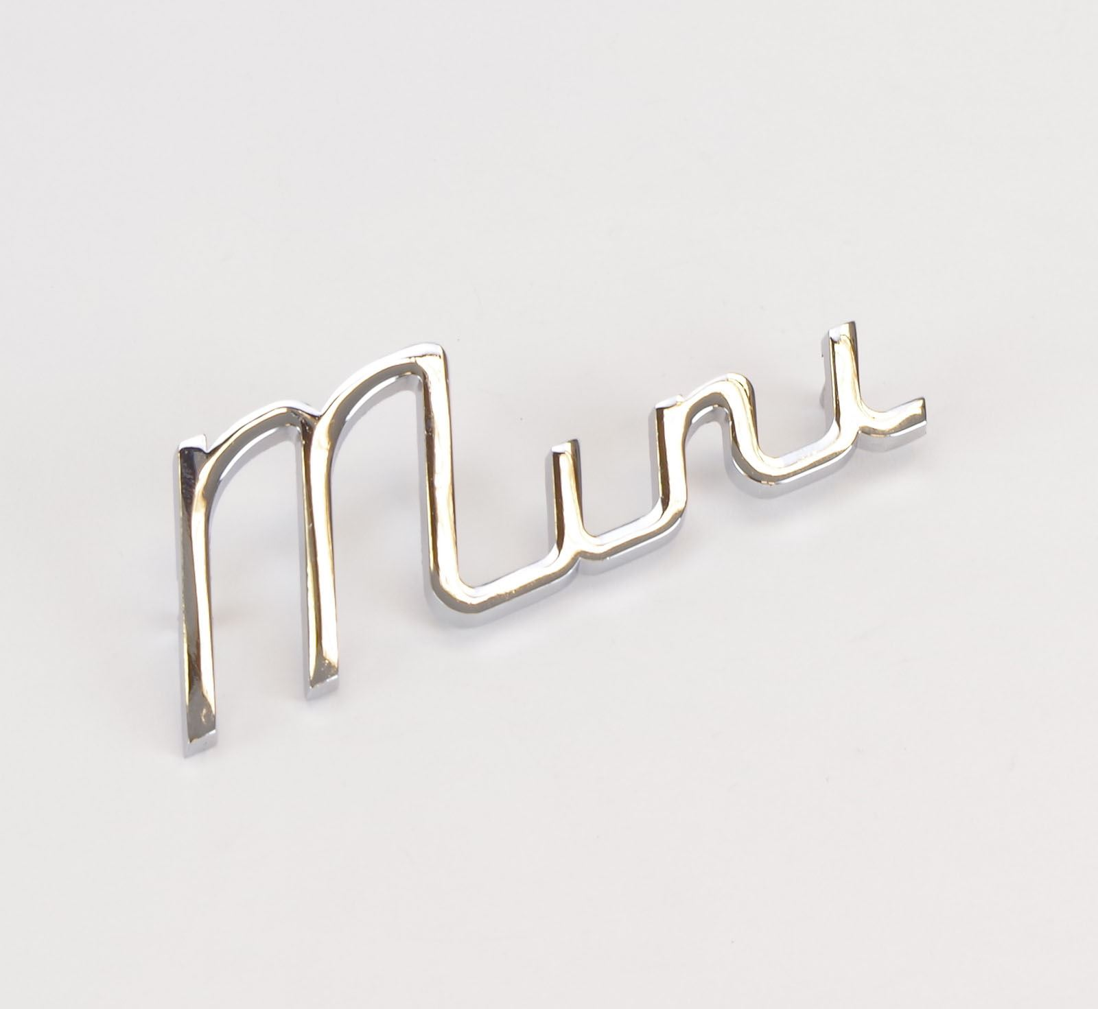 BMC part; 24B2639 Classic Austin Mini Automatic Chrome Cast Metal Script Badge